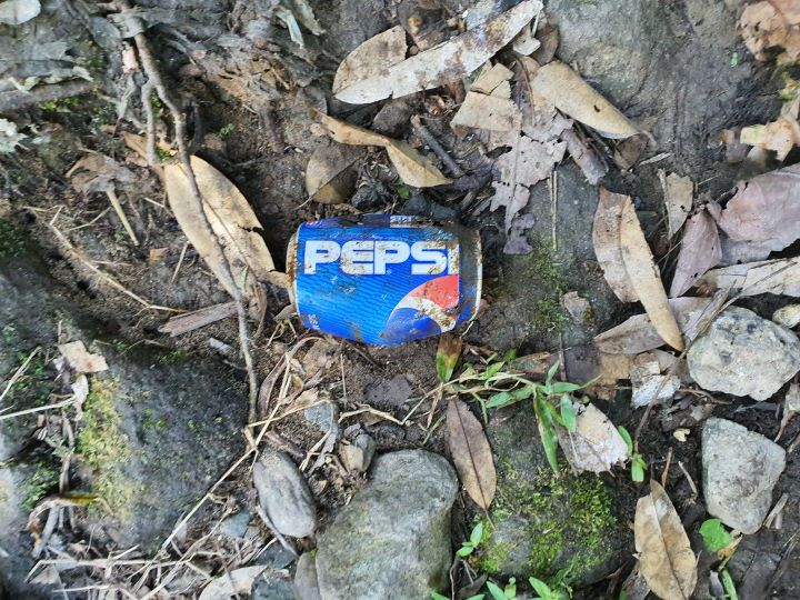 An old Pepsi can caked with dirt.